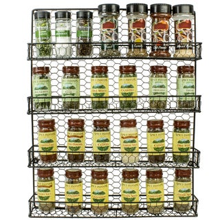 Black, 4-Tier Wall-Mounted Spice Organizer
