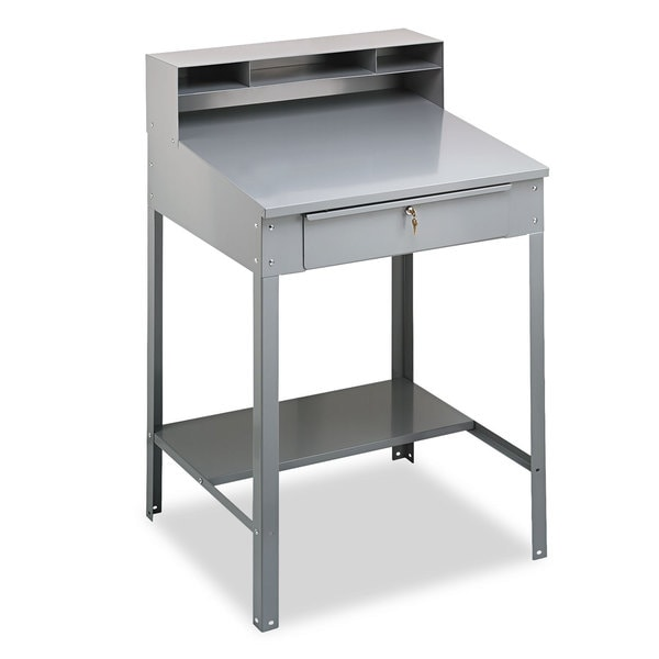 Tennsco Open Steel Shop Desk, 34-1/2w x 29d x 53-3/4h, Medium Grey 22864083