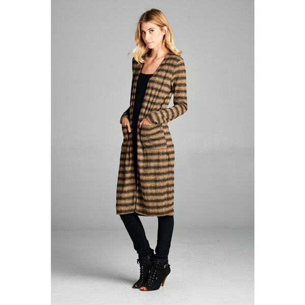 Spicy Mix Larissa Striped Extra-long Open-front Cardigan with Side Slits 22901333