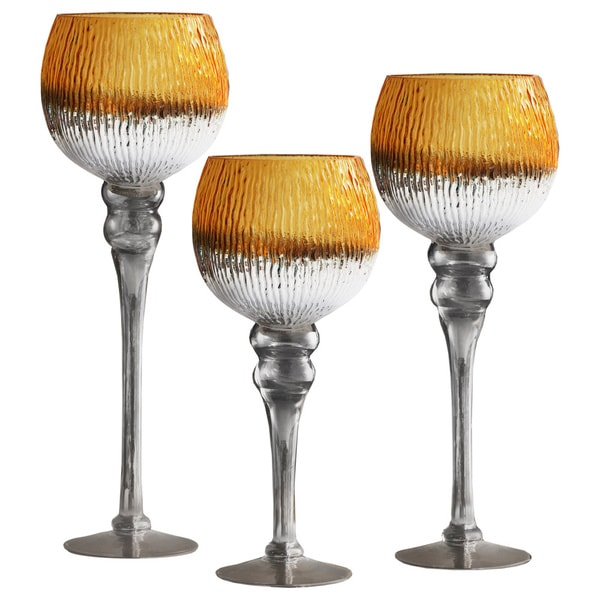 Crystal Clear Bentley White, Silver, and Gold Glass 3-piece Candleholder Set 22902077