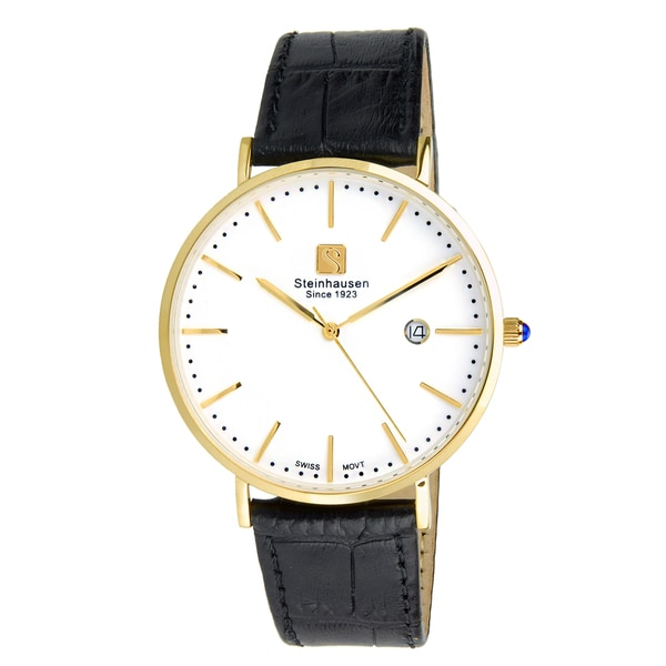 Steinhausen Men's S0521 Classic Burgdorf Swiss Quartz Gold-Tone Watch With Black Leather Band 22932081