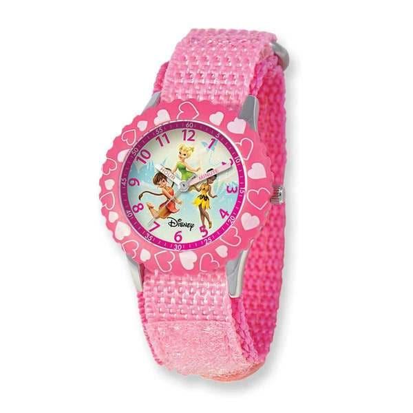 Disney Tinker Bell Dreamland Pink Hook and Loop Band Time Teacher Watch 22934218