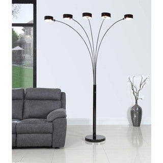 """Artiva USA """"MICAH Plus"""" Modern LED 88-inch 5-Arched Jet Black Floor Lamp with Dimmer"""