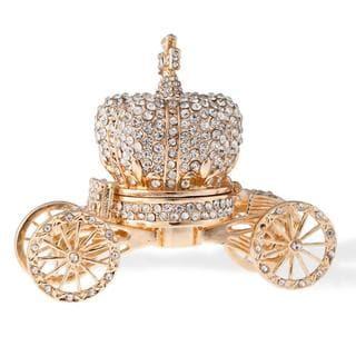 Matashi 24k Gold Crystal Embellished Hand-painted Royal Crown Carriage Ornament/Trinket Box