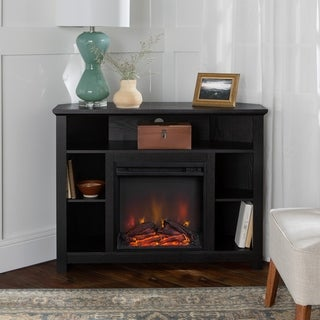 44-inch Black Corner Fireplace TV Stand Console with Open Shelving