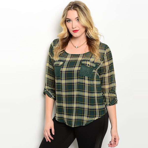 Shop The Trends Women's Plaid Print Polyester Plus Size 3/4 Sleeve Blouse 22957576