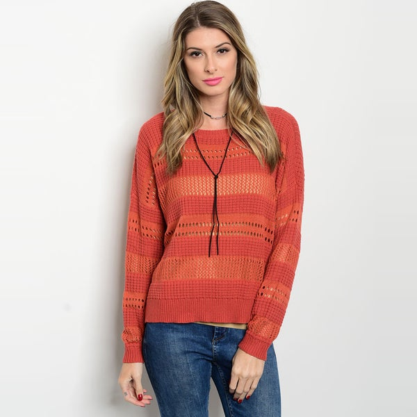 Shop The Trends Women's Orange Long-sleeve Knit Sweater with Ribbed Hem 22957726