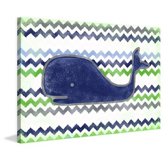 Marmont Hill - Handmade Navy Whale Print on Wrapped Canvas