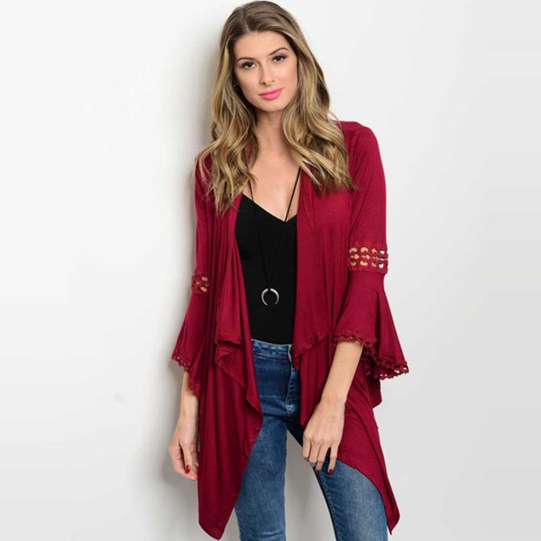 Shop The Trends Women's Rayon Blend 3/4 Bell Sleeve Jersey Cardigan with Lace Trim Detail 22957982