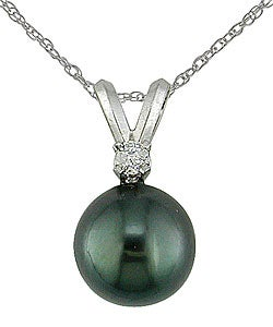 Miadora 14k Gold Diamond & Cultured Tahitian Pearl Pendant