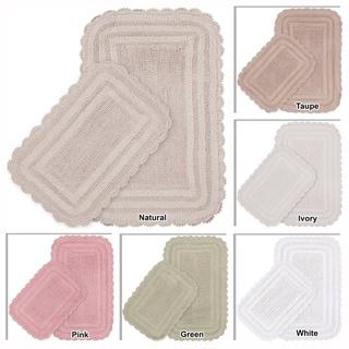 Mandara 2-piece Reversible Cotton Bath Mat Set with Crochet Lace