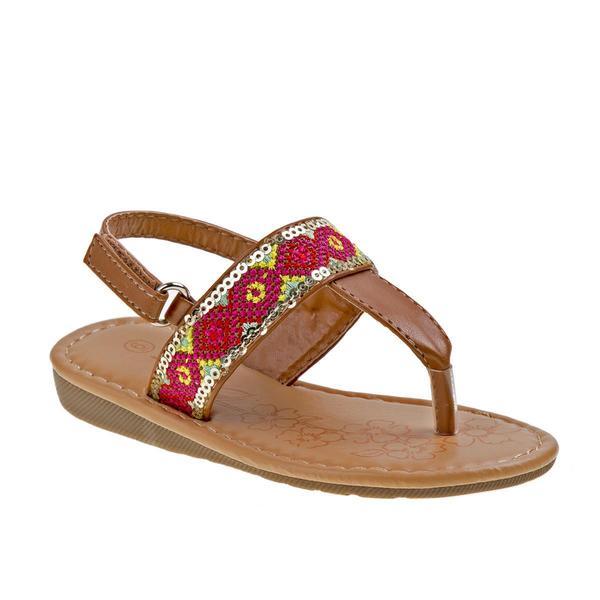 Josmo Girls Brown/Multi Polyurethane Toddler Sandals 22968315
