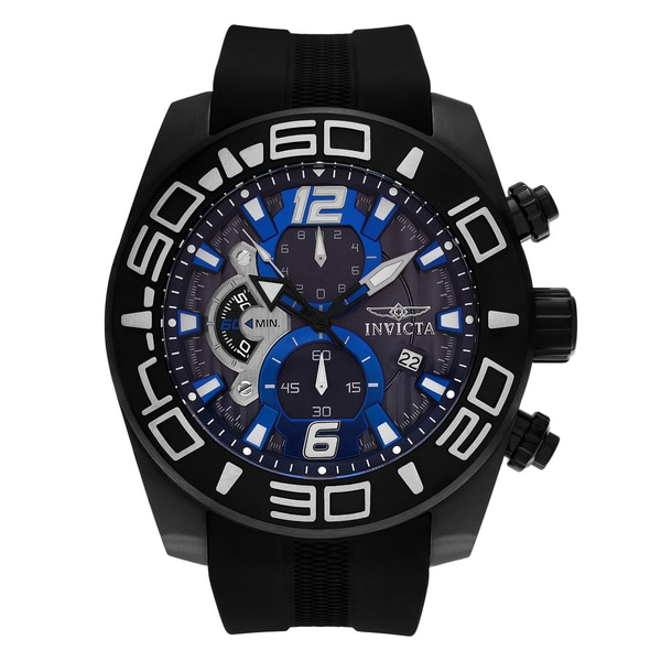 Invicta Men's 'Pro Diver' 22813 Black Ion Plated Blue Chronograph Dial Silicone Strap Watch 22971253