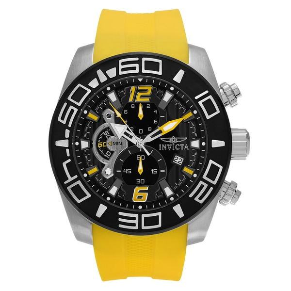 Invicta Men's 'Pro Diver' 22808 Stainless Steel Chronograph Yellow Silicone Strap Watch 22971256