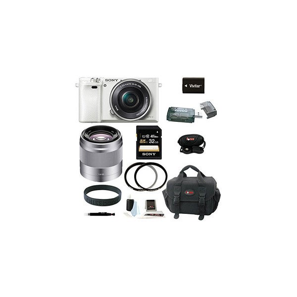Sony Alpha a6000 Interchangeable Lens Camera with 16-50mm Power Zoom Lens (White) and Sony 50mm f/1.8 Mid-Range Lens (Silver) 22972436