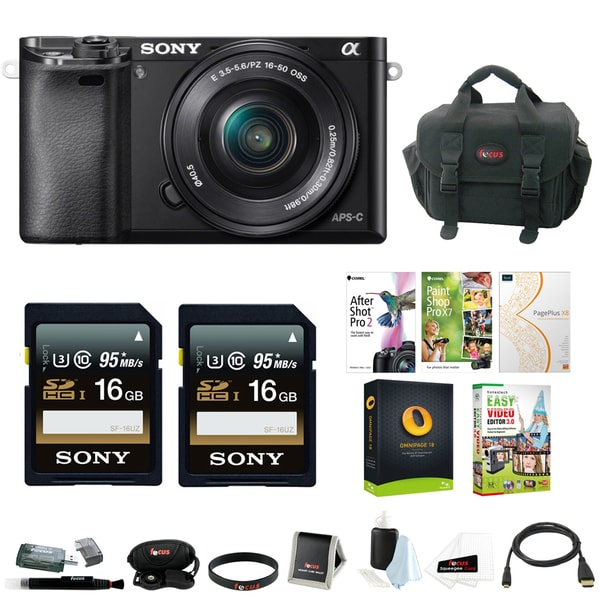 Sony Alpha a6000 Premium Kit with 16-50mm Lens Bundled with Corel Imaging Software 22972441