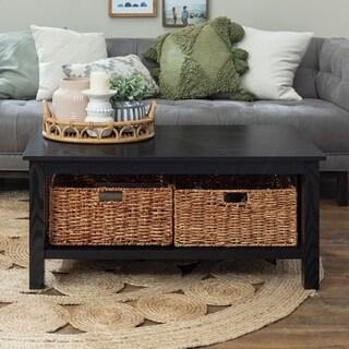 40-inch Coffee Table with Wicker Storage Baskets - Black