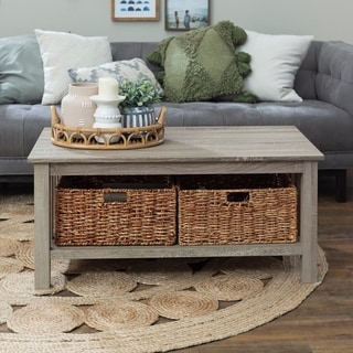 40-inch Coffee Table with Wicker Storage Baskets - Driftwood