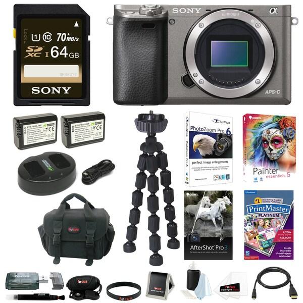 Sony a6000 w/ Camera Gadget Bag & 64GB SDHC Accessory Bundle - Graphite 22973685