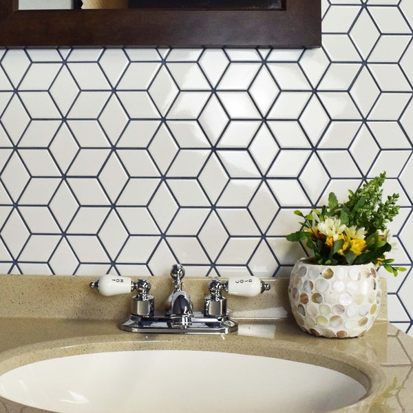 SomerTile 10.5x12.125-inch Victorian Rhombus Glossy White Porcelain Mosaic Floor and Wall Tile (10/C 22973802