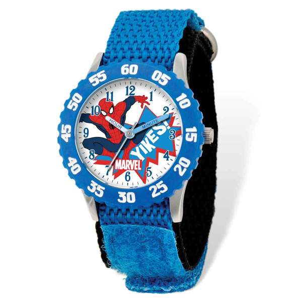 Marvel Spiderman Blue Hook and Loop Band Time Teacher Watch 22985113