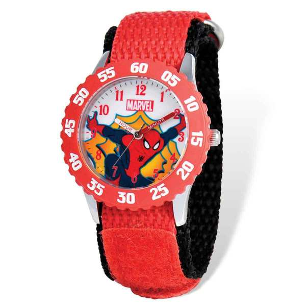 Marvel Spiderman Red Hook and Loop Band Time Teacher Watch 22985114