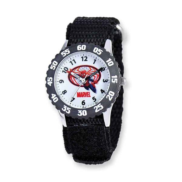 Marvel Spiderman Black Hook and Loop Band Time Teacher Watch 22985118