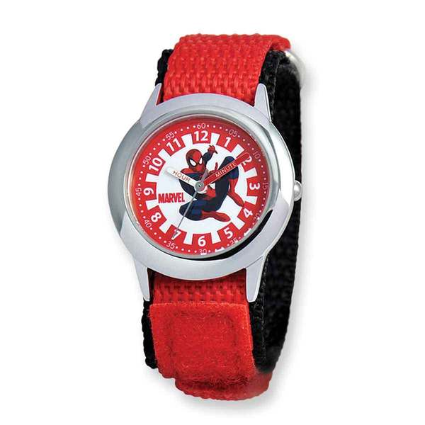 Marvel Spiderman Red Hook and Loop Band Time Teacher Watch 22985137