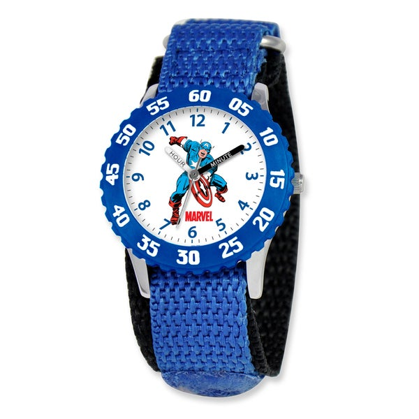 Marvel Captain America Kids Blue Hook and Loop Band Time Teacher Watch 22985149