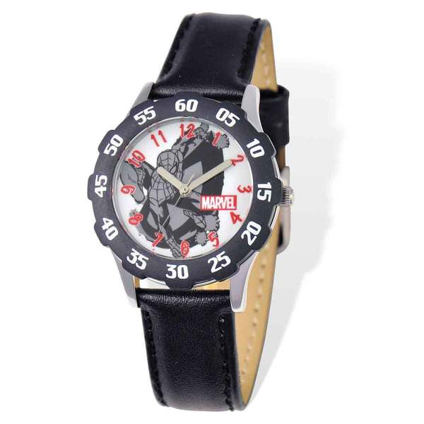 Marvel Spiderman Black Leather Tween Watch 22985801