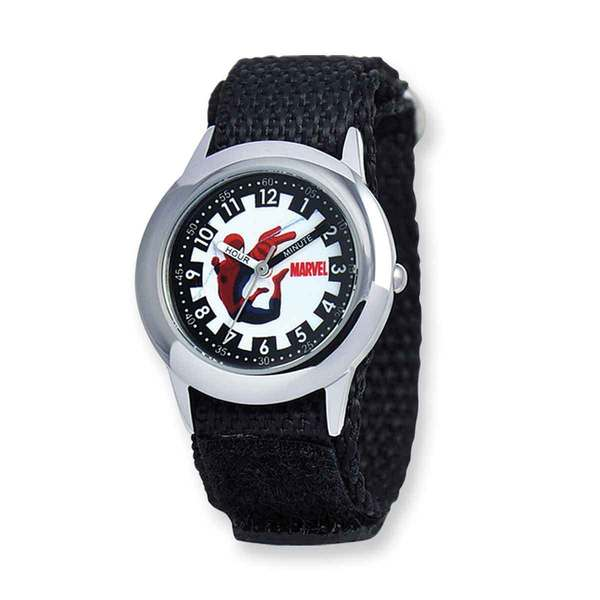 Marvel Spiderman Black Hook and Loop Band Time Teacher Watch 22985805