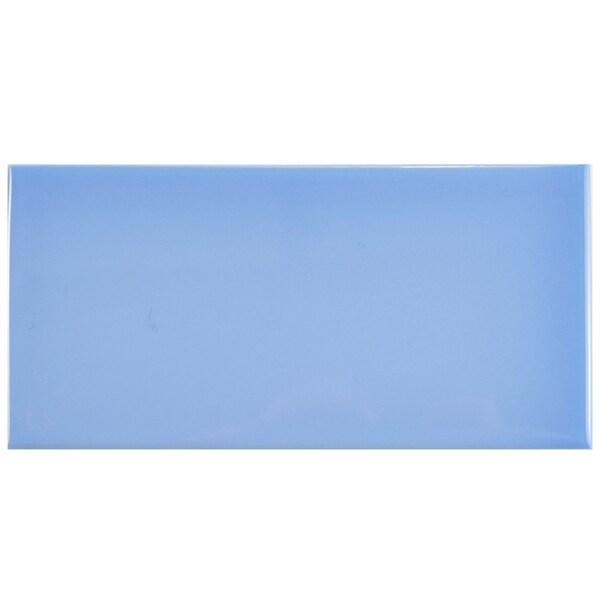 SomerTile 3x6-inch Malda Subway Glossy Calm Blue Ceramic Wall Tile (136/Case, 17 sqft.) 22987044