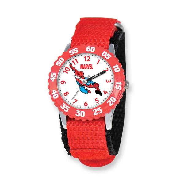 Marvel Spiderman Kids Red Hook and Loop Band Time Teacher Watch 22987499