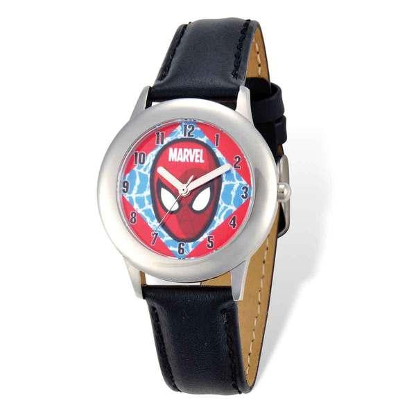 Marvel Spiderman Face Black Leather Tween Watch 22987506