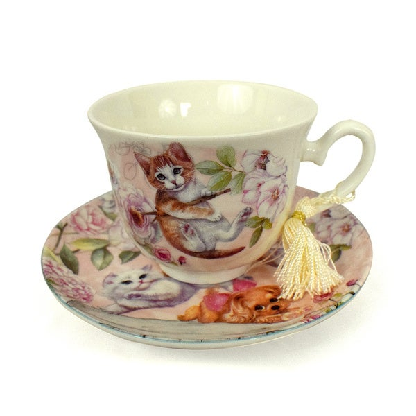 Pink Kittens Porcelain Tea Cup and Saucer Set with Keepsake Box 22990195