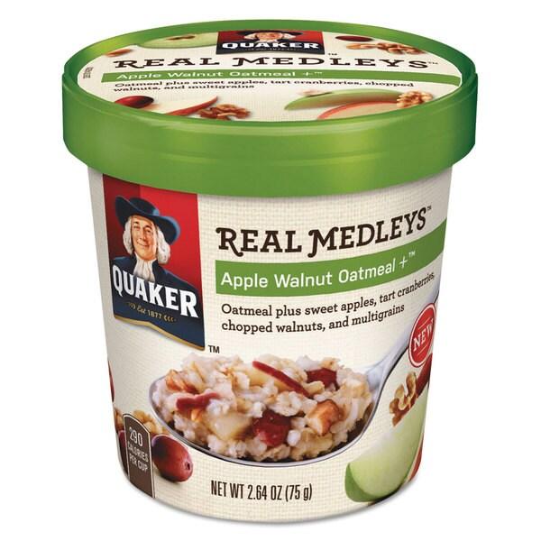 Quaker Real Medleys Oatmeal Apple Walnut Oatmeal+ 2.64-ounce Cup 12/Carton 22994271