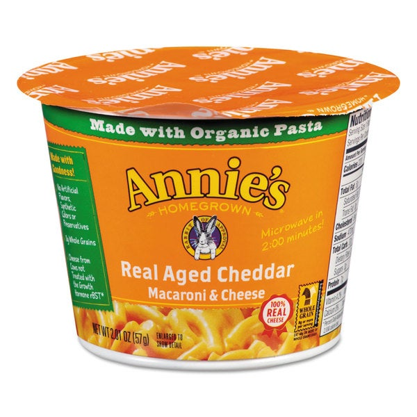 Annie's Homegrown Aged Cheddar Mac and Cheese 2.01-ounce Cup 12/Carton 22995247