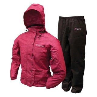 Frogg Toggs Women's Black and Cherry Plastic All-purpose Rain Suit 22996990