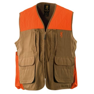 Browning Upland Men's Field Tan and Blaze Trim Cotton Large Vest thumbnail