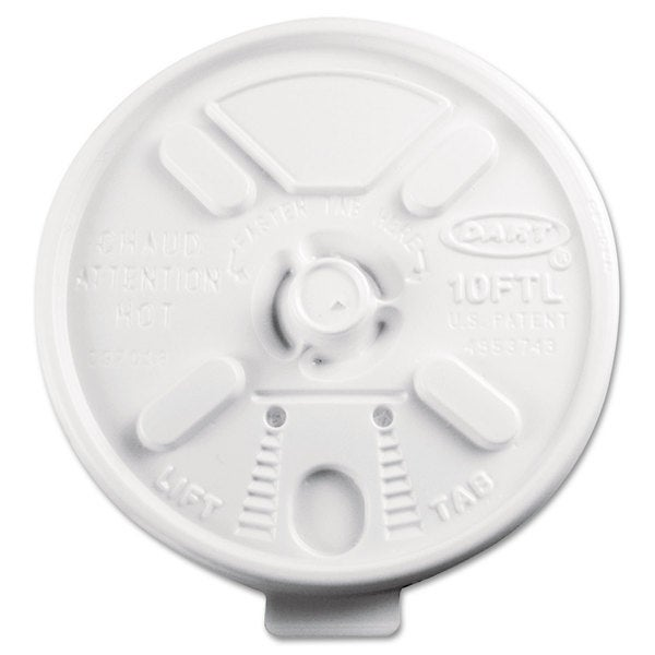 Dart Lift N' Lock Plastic Hot Cup Lids Fits 10-ounce Cups White 1000/Carton 22997744