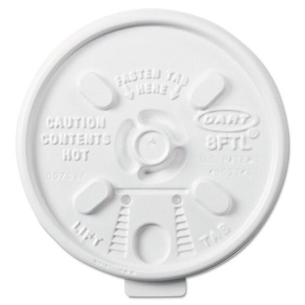 Dart Lift n' Lock Plastic Hot Cup Lids 6-10-ounce Cups White 1000/Carton 22998167