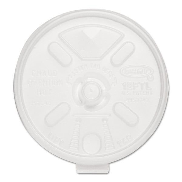 Dart Liftn'Lock Lids 10-14-ounce Cups Translucent 100/Sleeve 10 Sleeves/Carton 22998761