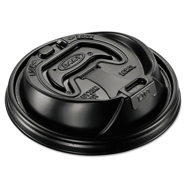 Dart Optima Hot Cup Lids 12-24-ounce Cups Black 100/Sleeve 10 Sleeves/Carton 22998782