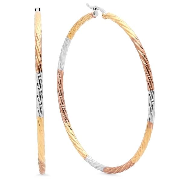 Piatella Ladies Tricolor 18K Goldplated Stainless Steel Hoop Earrings 23000053