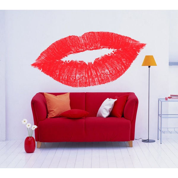Red Lips Full Color Decal, Red Lips Full color sticker,colored Red Lips Sticker Decall size 44x60 23012437