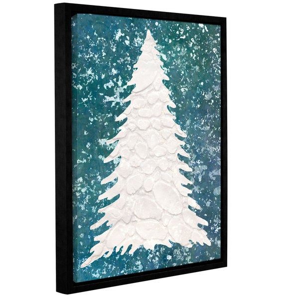 Cora Niele's ' Xmas Snow Tree 08' Gallery Wrapped Floater-framed Canvas - Off-White 23054588