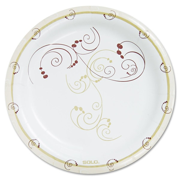 """SOLO Cup Company Symphony Paper Dinnerware Heavyweight Plate 9"""" Tan 125/Pack 23056422"""