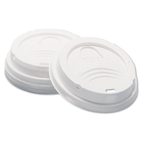 Dixie Dome Hot Drink Lids 8-ounce Cups White 100/Sleeve 10 Sleeves/Carton 23059445