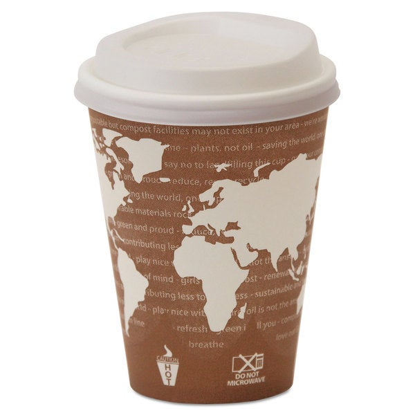 Eco-Products EcoLid 25-percent Recy Content Hot Cup Lid White Fits 8-ounce Hot Cups 100/Pack 10 Pack/Carton 23059452