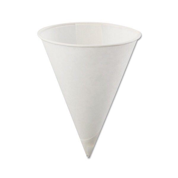 Konie Poly-Bag Rolled-Rim Paper Cone Cups 4oz White 5000/Carton 23059527